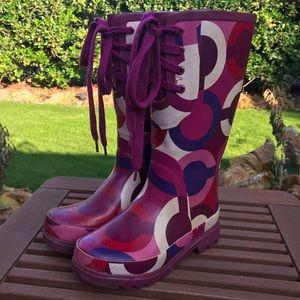 Coach periwinkle rubber boots sz 5
